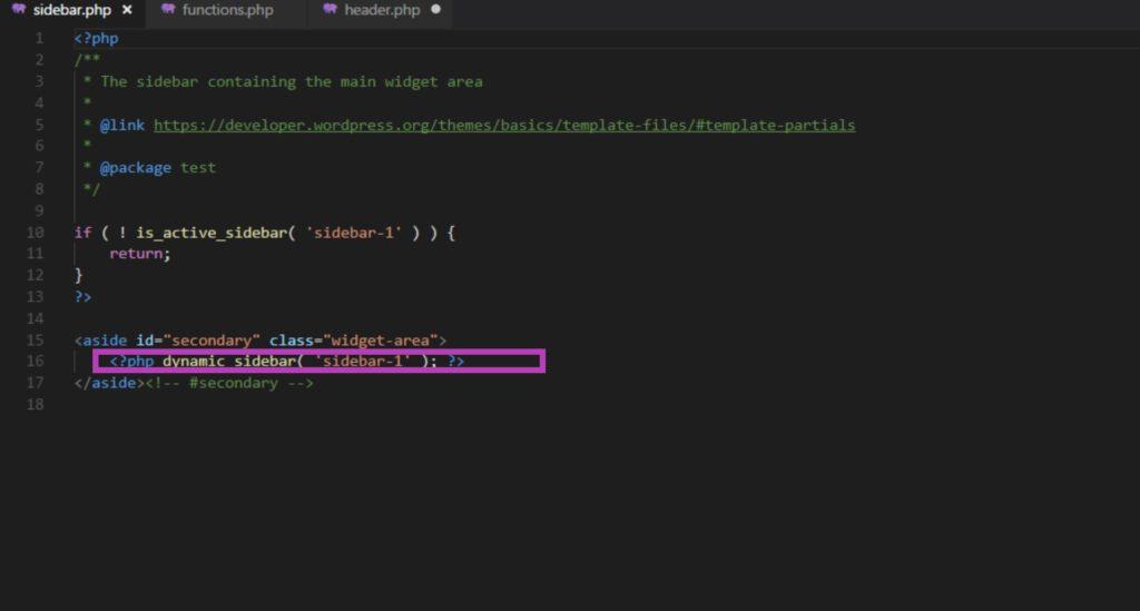 Создание своей темы WordPress – Sidebar.php