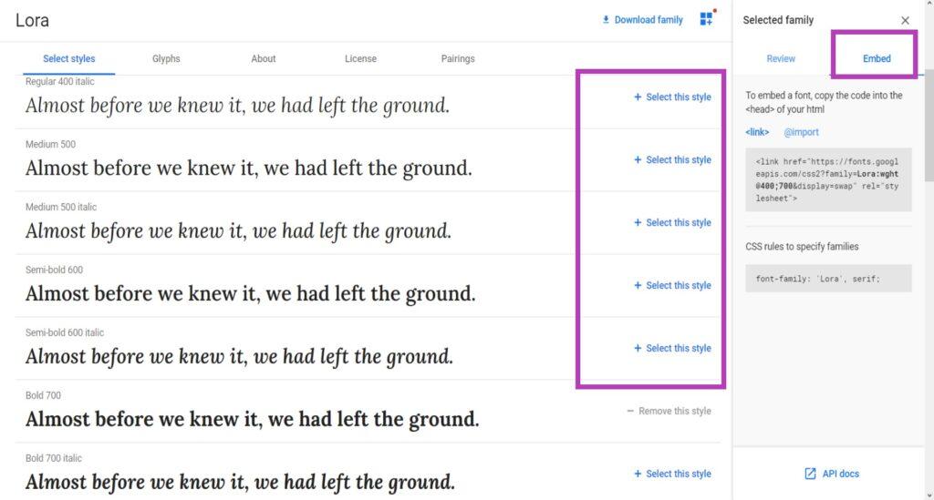 Добавить Google font