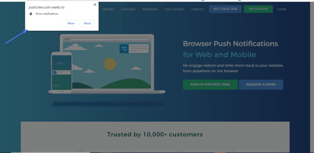 Вот как выглядит push-уведомление WordPress