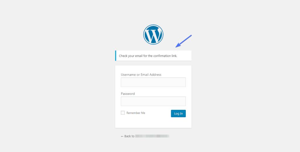проверьте электронную почту для ссылки сброса пароля