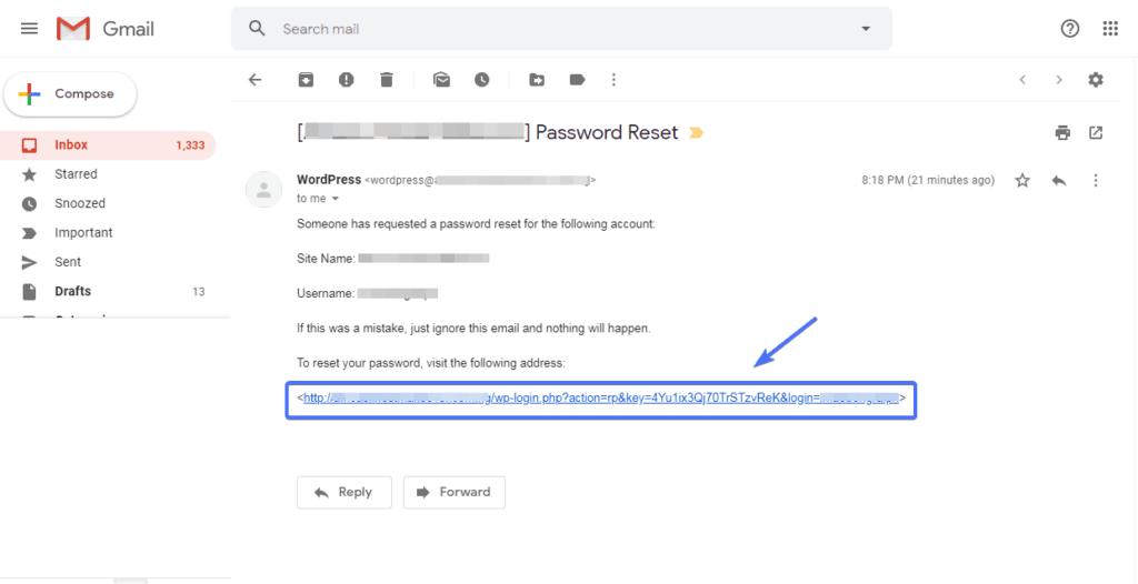 ссылка для сброса пароля в электронной почте