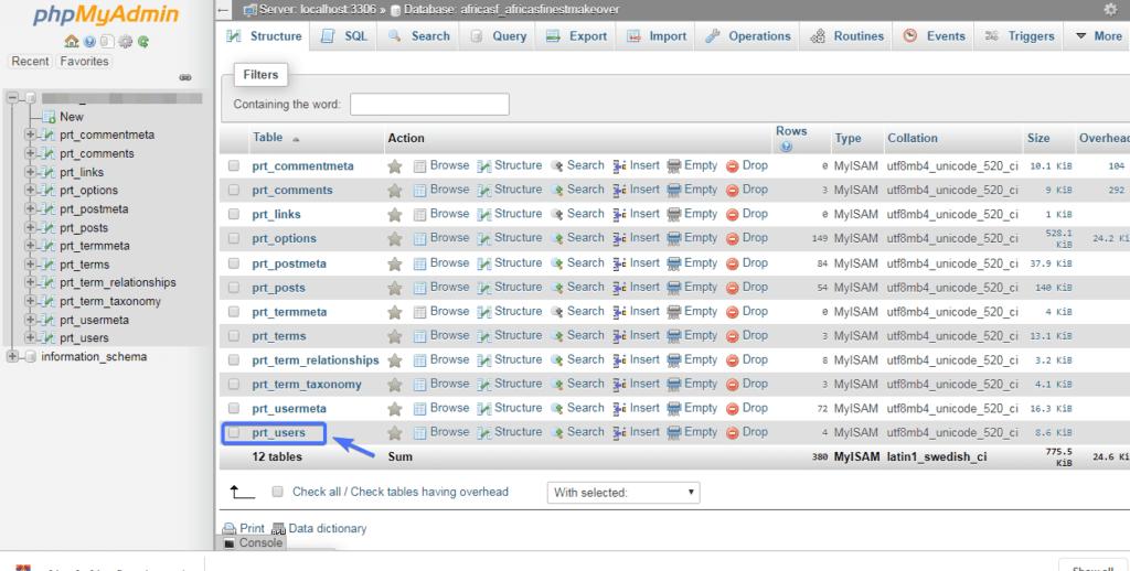 prt_users базе данных
