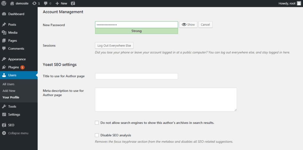 Настройка пароля для управления учетными записями пользователей