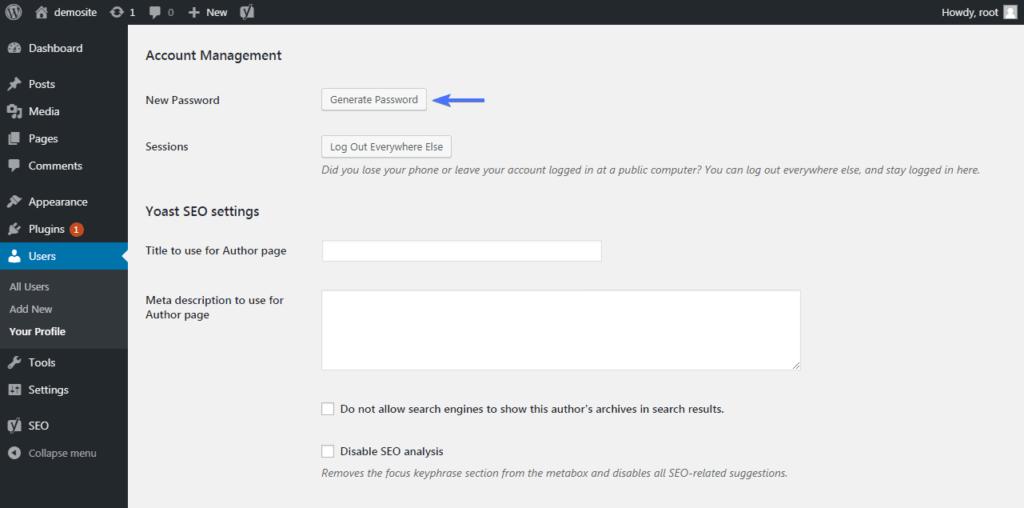 Создать пароль для профиля пользователя