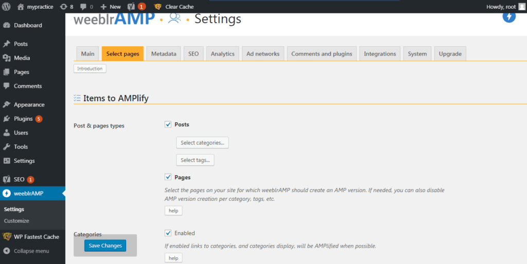 Плагин WordPress Amp - WeeblrAMP CE