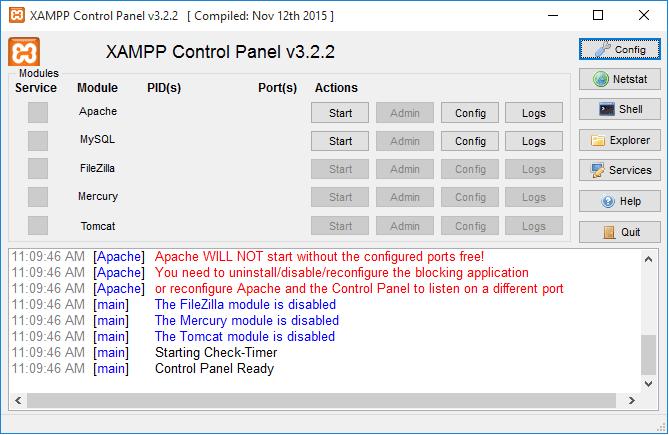 xampp ошибка