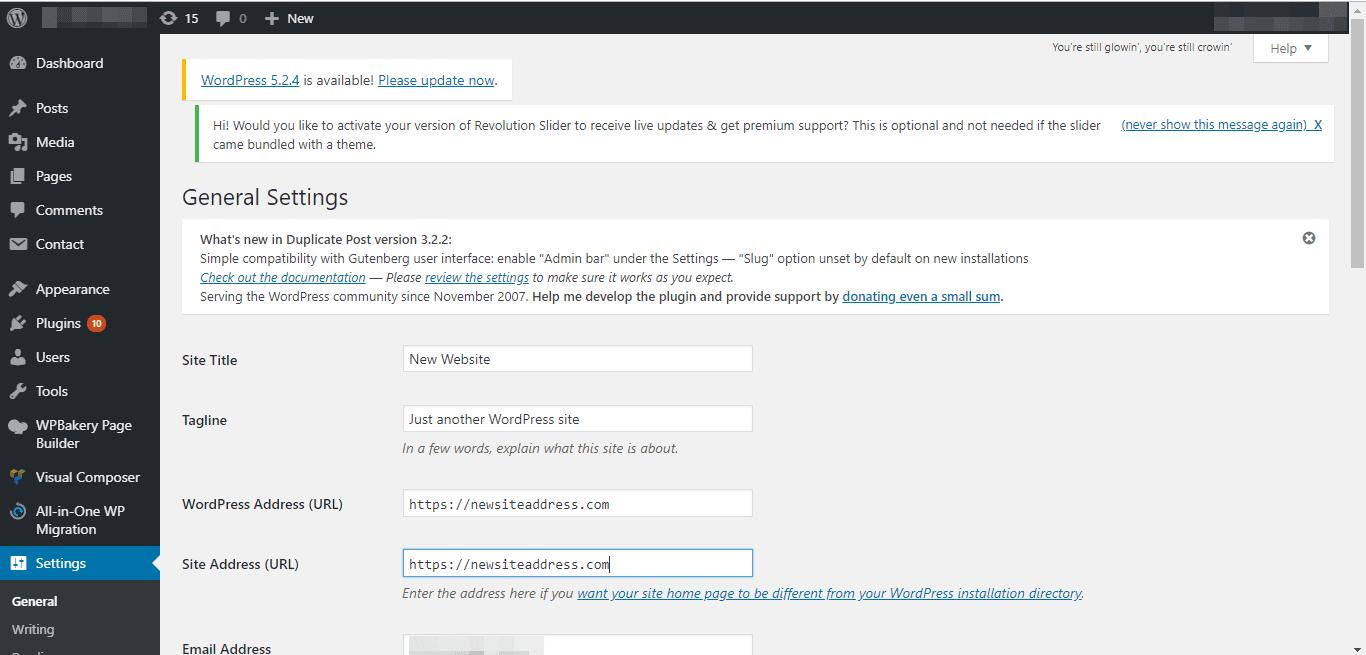 изменение доменного имени в общих настройках - wp dashboard