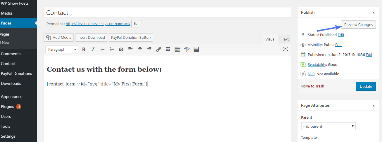 Contact form 7 шорткод