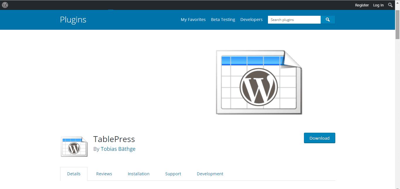 Tableppress Plugin – WordPress Tables