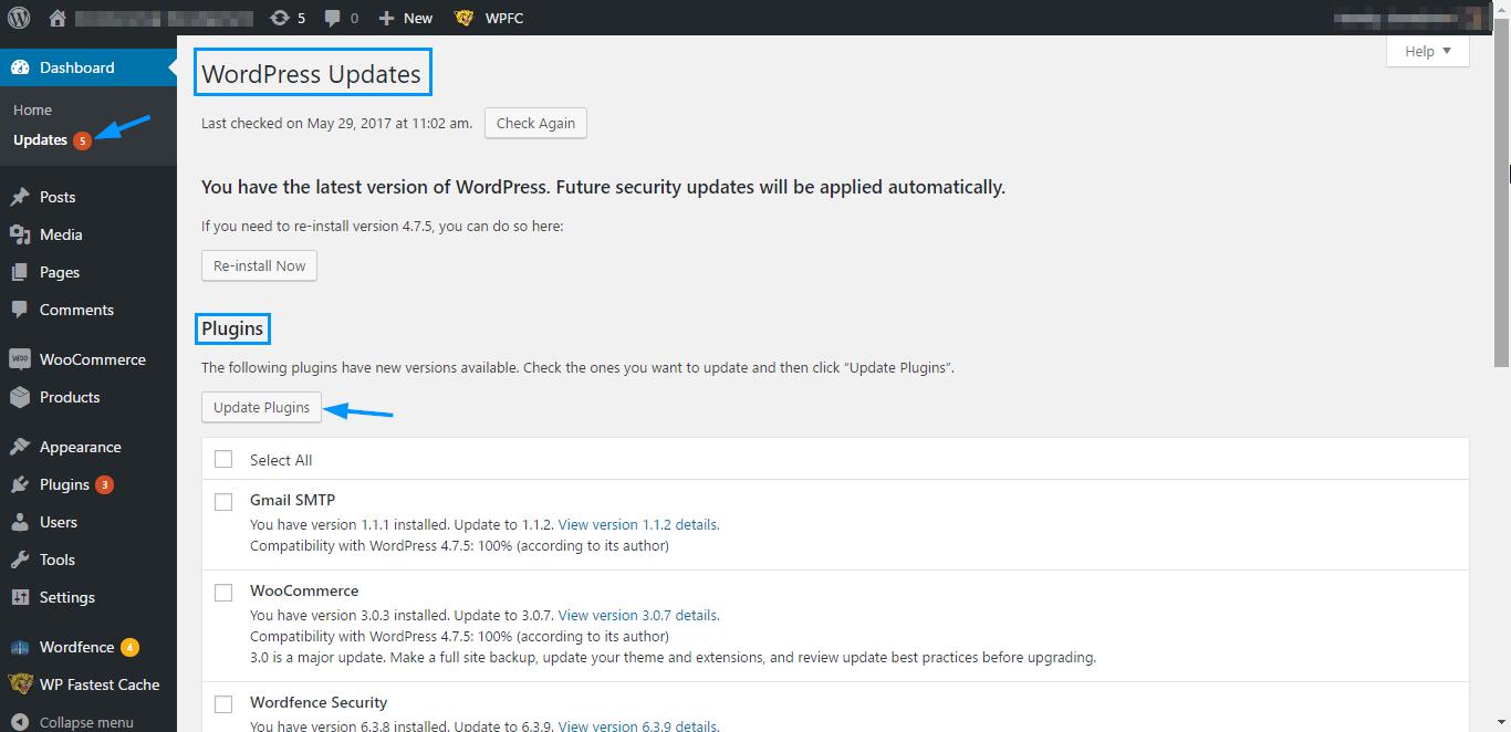 Ошибки WordPress - Обновление плагинов